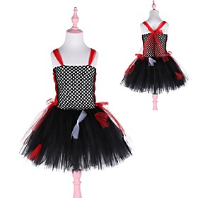 Kids Girls' Basic Black Color Block Halloween Patchwork Sleeveless Above Knee Dress Red