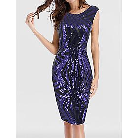 Women's A-Line Dress Knee Length Dress - Sleeveless Solid Color Sequins Summer Elegant Party Club 2020 Blue S M L XL XXL