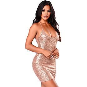 Women's A-Line Dress Short Mini Dress - Sleeveless Solid Color Sequins Summer Strapless Sexy Party Going out Slim 2020 Gold S M L XL