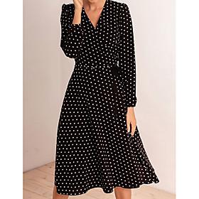 Women's Swing Dress Knee Length Dress - Long Sleeve Polka Dot Fall V Neck Casual 2020 Black S M L XL XXL