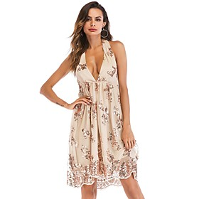 Women's A-Line Dress Knee Length Dress - Sleeveless Floral Solid Color Backless Sequins Embroidered Summer Halter Neck Sexy Party Club 2020 Gold S M L XL XXL