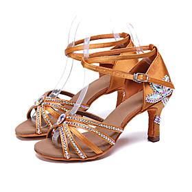 Women's Dance Shoes Latin Shoes / Ballroom Shoes / Line Dance Heel Rhinestone / Buckle Slim High Heel Red / Blue / Brown / Performance / Leather