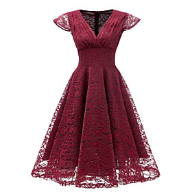Women's A-Line Dress Knee Length Dress - Sleeveless Solid Color Lace Summer V Neck Sexy Party Slim 2020 Blushing Pink Wine Light Green Navy Blue S M L XL XXL