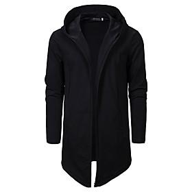 Men's Hooded Overcoat Long Solid Colored Daily Basic Long Sleeve Wool Black US34 / UK34 / EU42 US38 / UK38 / EU46 US42 / UK42 / EU50