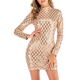 Women's A-Line Dress Short Mini Dress - Long Sleeve Solid Color Sequins Mesh Summer Sexy Party Club Skinny 2020 Black Gold S M L XL