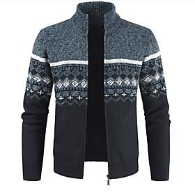 Men's Color Block Sweater Long Sleeve Sweater Cardigans Stand Collar Fall Winter Wine Light gray Dark Gray