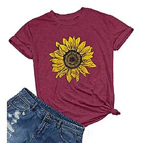 Sonnenblumenhemden für Frauen niedliche grafische T-Shirts Buchstaben drucken lustige T-Shirts oben (l, rot) Kotierung:08/26/2020