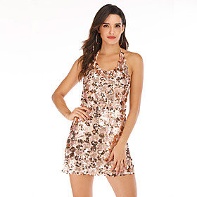 Women's A-Line Dress Short Mini Dress - Sleeveless Solid Color Backless Sequins Summer Halter Neck Sexy Party Club 2020 Gold S M L XL