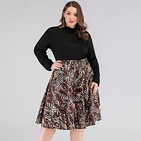 Women's Swing Dress Knee Length Dress - Long Sleeve Print Print Summer Plus Size Elegant 2020 Black XL XXL 3XL 4XL 5XL
