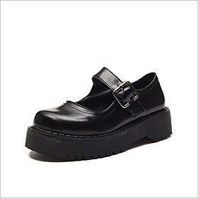 Women's Flats Lolita Shoes Flat Heel Round Toe Classic Vintage Daily PU Summer Black