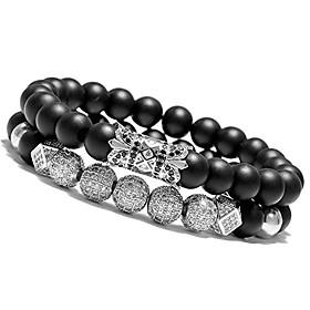 men's charm beads bracelet black matte onyx natural stone beads