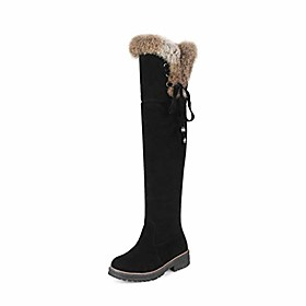 women round toe snow boots winter cross strap low square heel fur lined thigh high over the knee boot black