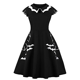 Halloween Women's A-Line Dress Knee Length Dress - Short Sleeve Bat Print Summer Vintage Cotton 2020 Black S M L XL XXL