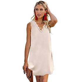 Women's A-Line Dress Short Mini Dress - Sleeveless Solid Color Patchwork Summer V Neck Casual Slim 2020 White Black Blue Green Beige S M L XL XXL