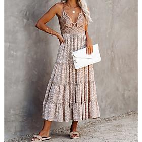 Women's Strap Dress Midi Dress - Sleeveless Print Lace Print Summer V Neck Casual Boho 2020 Beige S M L XL