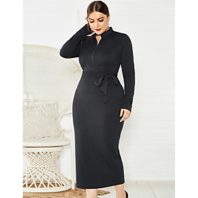 Women's Sheath Dress Midi Dress - Long Sleeve Solid Color Zipper Fall Plus Size Sexy 2020 Black Blue Wine XL XXL 3XL 4XL 5XL
