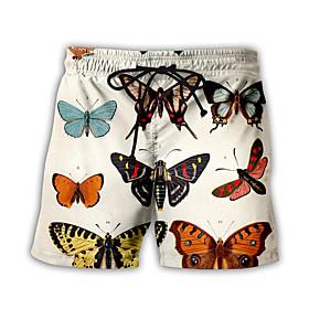 Men's Basic Streetwear Daily Holiday Loose Sweatpants Shorts Pants Pattern 3D Butterfly Print Drawstring Breathable Summer US32 / UK32 / EU40 US34 / UK34 / EU4