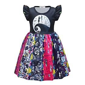 Kids Girls' Basic Color Block Halloween Patchwork Short Sleeve Above Knee Dress Rainbow