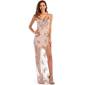 Women's A-Line Dress Maxi long Dress - Sleeveless Solid Color Embroidered Summer V Neck Sexy Party Slim 2020 Black Gold S M L XL