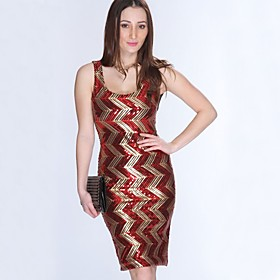 Women's A-Line Dress Knee Length Dress - Sleeveless Striped Color Block Sequins Embroidered Print Summer Sexy Party Club 2020 Black Red S M L XL XXL