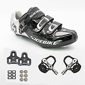 SIDEBIKE Adults' Cycling Shoes With Pedals  Cleats Road Bike Shoes Breathable Cushioning Ultra Light (UL) Cycling / Bike Black and White Men's Women's Unisex C