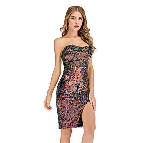 Women's A-Line Dress Short Mini Dress - Sleeveless Solid Color Sequins Embroidered Tassel Fringe Summer Strapless Sexy Party Club 2020 Rainbow S M L XL