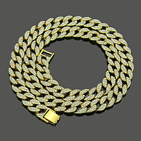 Men's White Crystal Necklace Friends Hip Hop Alloy Gold Silver 45 cm Necklace Jewelry 1pc For Halloween Street