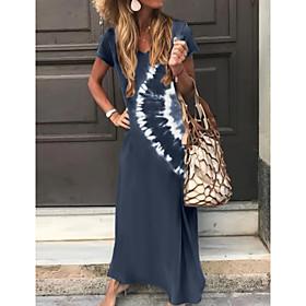 Women's A-Line Dress Maxi long Dress - Short Sleeve Tie Dye Print Summer V Neck Classic  Timeless Hot Holiday Loose 2020 Green Dark Gray Brown Navy Blue S M L