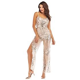 Women's A-Line Dress Maxi long Dress - Sleeveless Solid Color Backless Sequins Zipper Summer V Neck Sexy Party Slim 2020 Silver S M L XL XXL
