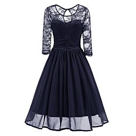 Women's A-Line Dress Knee Length Dress - 3/4 Length Sleeve Solid Color Patchwork Fall Work Slim 2020 Navy Blue S M L XL XXL