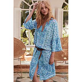 Women's A-Line Dress Knee Length Dress - 3/4 Length Sleeve Print Print Fall V Neck Casual Loose 2020 Yellow Blushing Pink Light Blue S M L XL