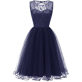 Women's A-Line Dress Knee Length Dress - Sleeveless Solid Color Lace Mesh Patchwork Summer Sexy Party Slim 2020 Blushing Pink Wine Navy Blue S M L XL XXL