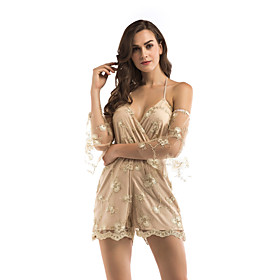 Women's A-Line Dress Knee Length Dress - Sleeveless Solid Color Sequins Embroidered Summer V Neck Sexy Party Slim 2020 Gold S M L XL