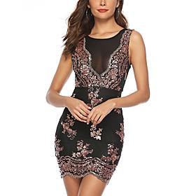 Women's A-Line Dress Short Mini Dress - Sleeveless Solid Color Sequins Mesh Summer Sexy Party Club 2020 Black S M L XL XXL