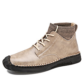 Men's Boots Work Boots Casual Daily Outdoor Walking Shoes Faux Leather Wear Proof Booties / Ankle Boots Black / Beige / Gray Fall / Winter