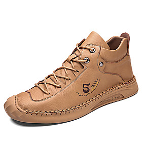 Men's Boots Casual / Handmade Daily Outdoor Faux Leather Wear Proof Booties / Ankle Boots Light Brown / Black / Beige Fall / Winter
