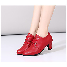 Women's Dance Shoes Latin Shoes / Ballroom Shoes / Practice Trainning Dance Shoes Heel Thick Heel Black / Red / Silver / Performance
