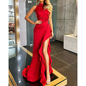 A-Line Minimalist Sexy Wedding Guest Formal Evening Dress High Neck Sleeveless Court Train Stretch Satin with Ruffles Split 2020