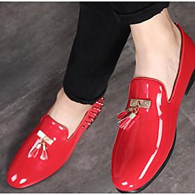 Men's Loafers  Slip-Ons Business / Casual Daily PU Wear Proof Dark Red / Black / Blue Fall / Tassel / Tassel