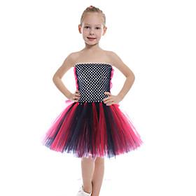 Kids Girls' Basic Color Block Halloween Mesh Patchwork Sleeveless Above Knee Dress Black