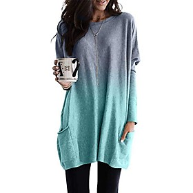 Women's Tunic Color Gradient Long Sleeve Round Neck Tops Loose Basic Basic Top Blue Purple Blushing Pink