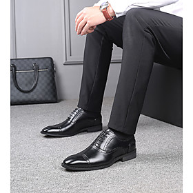 Men's Oxfords British Office  Career PU Waterproof Non-slipping Height-increasing Booties / Ankle Boots Black / Brown Fall