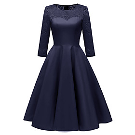 Women's A-Line Dress Knee Length Dress - 3/4 Length Sleeve Solid Color Lace Patchwork Summer Elegant Party Slim 2020 Blue Blushing Pink Wine S M L XL XXL