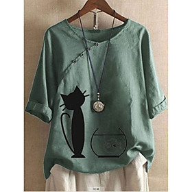 Women's Plus Size Blouse Shirt Cat Animal Cartoon Print V Neck Tops Basic Basic Top White Blue Red