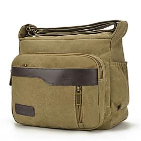 Men's Bags Oxford Cloth Crossbody Bag Zipper Solid Color for Daily Black / Army Green / Khaki / Dark Gray