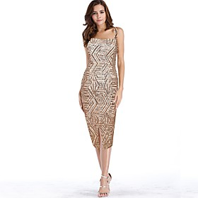 Women's A-Line Dress Midi Dress - Sleeveless Striped Backless Sequins Summer Square Neck Sexy Party Club 2020 Gold S M L XL XXL