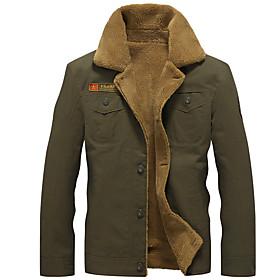 Men's Jacket Regular Solid Colored Daily Basic Long Sleeve Black Army Green Khaki US32 / UK32 / EU40 US34 / UK34 / EU42 US36 / UK36 / EU44