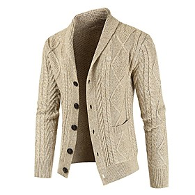 Men's Knitted Solid Colored Cardigan Long Sleeve Sweater Cardigans Shirt Collar Fall Winter Black Beige Gray
