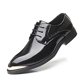 Men's Oxfords British Daily Walking Shoes PU Non-slipping Black / Gold / Black / Red / Black Fall