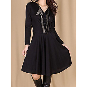 Women's A-Line Dress Knee Length Dress - Long Sleeve Solid Color Fall V Neck Casual Loose 2020 Black Light gray Dark Gray S M L XL XXL 3XL 4XL 5XL